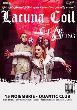 Concert Lacuna Coil si Cellar Darling pe 15 noiembrie