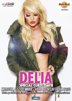 Concert Delia pe 6 septembrie la Hard Rock Cafe