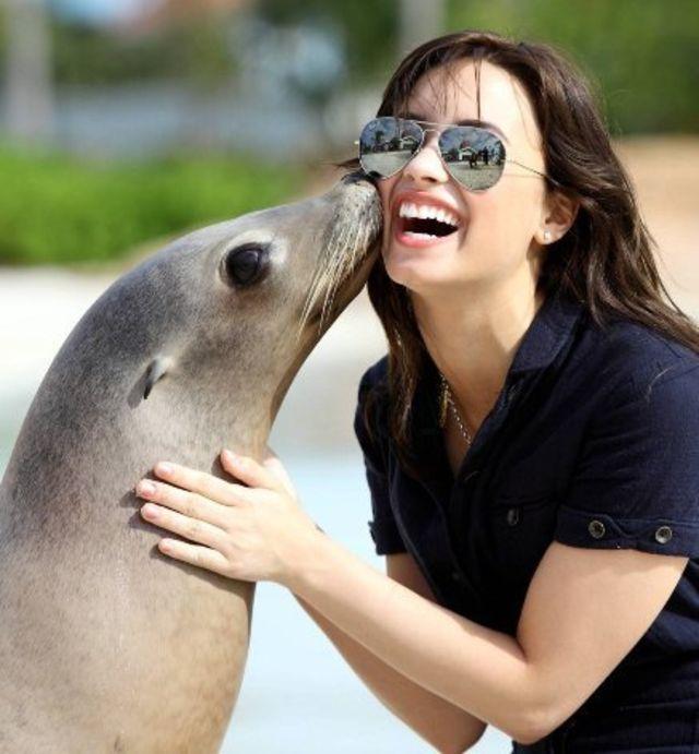 demi lovato, cu delfini si foci in Bahamas