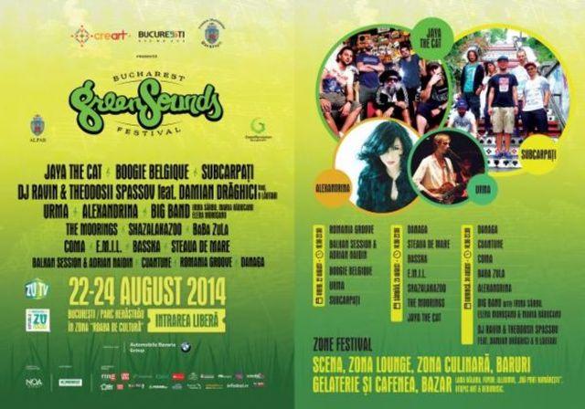 BUCHAREST GreenSounds FESTIVAL (22 - 24 august, Herastrau): program complet