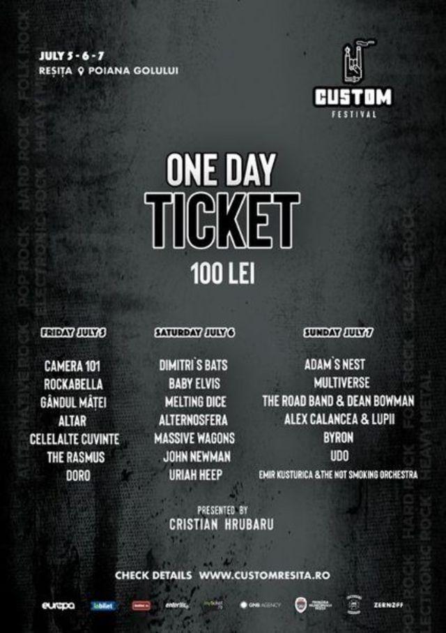 Bilete de o zi si line-up-ul festivalului Custom Resita