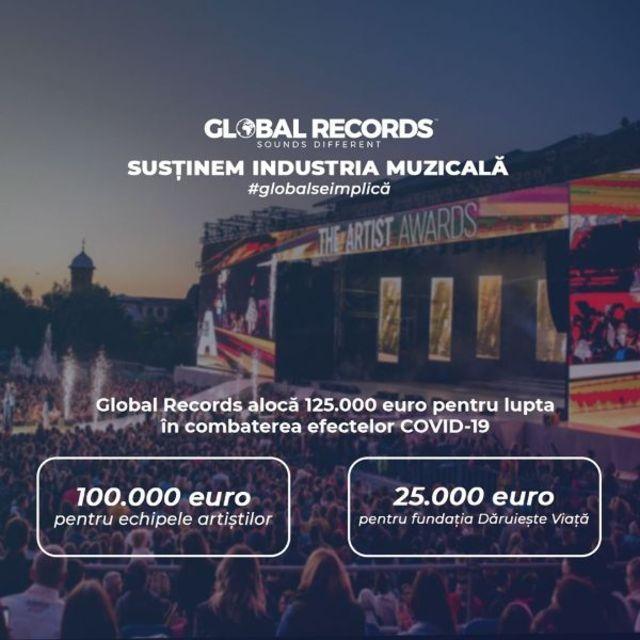 Global Records este alaturi de artistii si instrumentistii cu care lucreaza si aloca un buget de 100.000 de euro pentru depasirea acestei perioade dificile