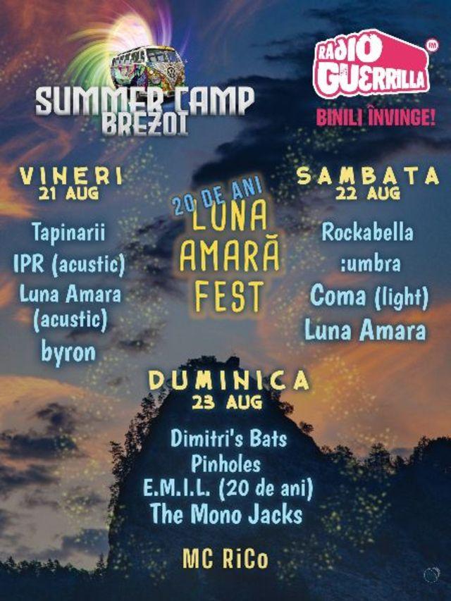 Luna Amara Fest - 20 de ani la Summer Camp Brezoi pe 21, 22, 23 august 2020